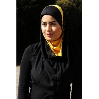 Hijab Amira  black/yellow mustard