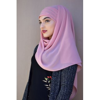 HIJAB LISERAI 3 LINES MEDIUM ROSE