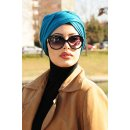 TURBAN SNOOD DOPPELKNOTEN ENTENBLAU