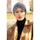 TURBAN SNOOD DOPPELKNOTEN GRAU