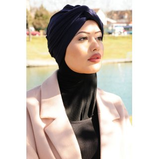 TURBAN SNOOD DOPPELKNOTEN MARINE